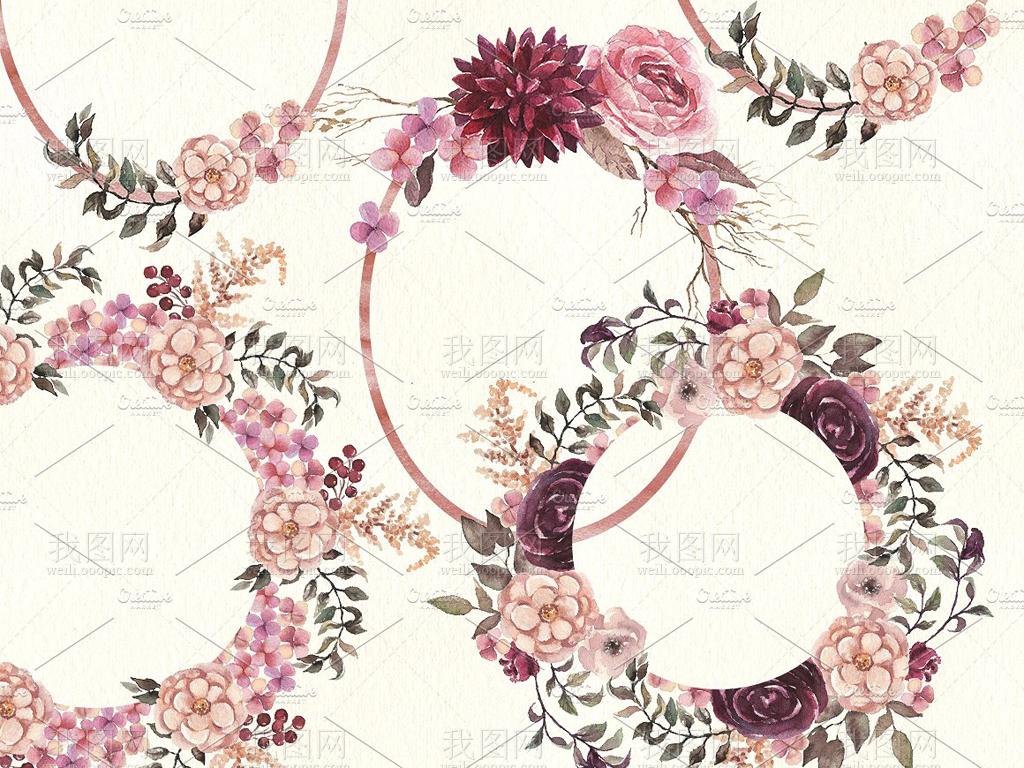 水彩复古风花卉花边花环等婚庆请柬卡片海报设计素材