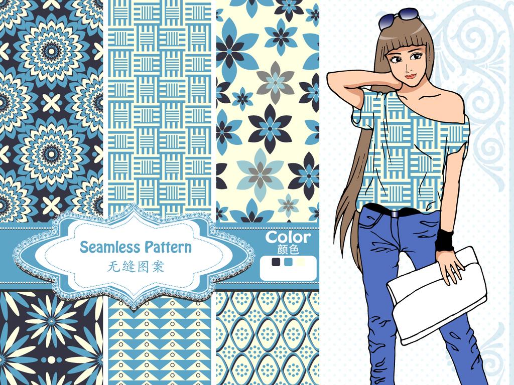 时尚女性t恤衣服印花上衣衬衫短袖服装图案设计图片图片