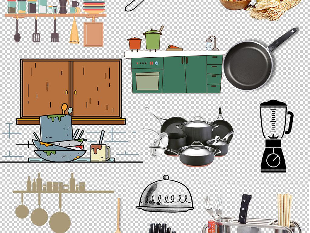 卡通实物厨具厨房用品png海报素材图片