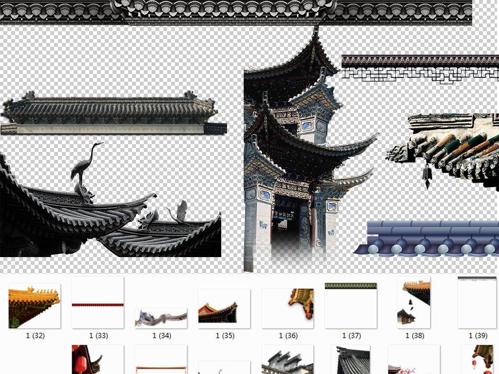 中国风屋顶屋檐免扣海报素材