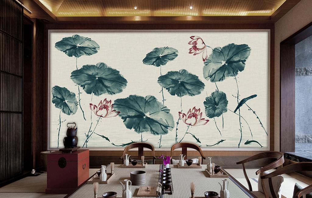 新中式中国风手绘工笔荷花莲花壁画背景墙