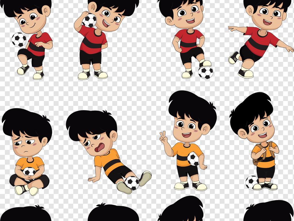 eps png可爱卡通足球小子踢足球的小男孩设计素材