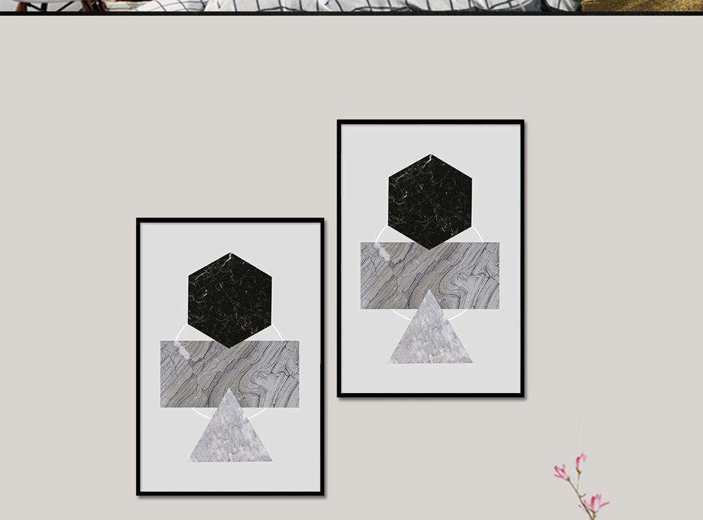 北欧抽象简约几何线条图案装饰画