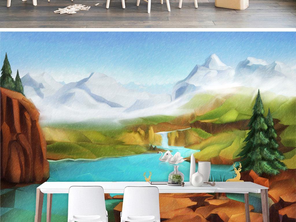 手绘北欧瀑布驯鹿天鹅山水风景背景墙装饰画
