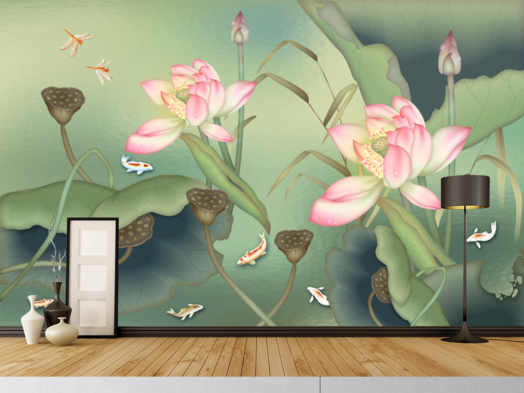 背景墙 装饰画 电视背景墙 中式电视背景墙 > 新中式意境禅意水墨荷花