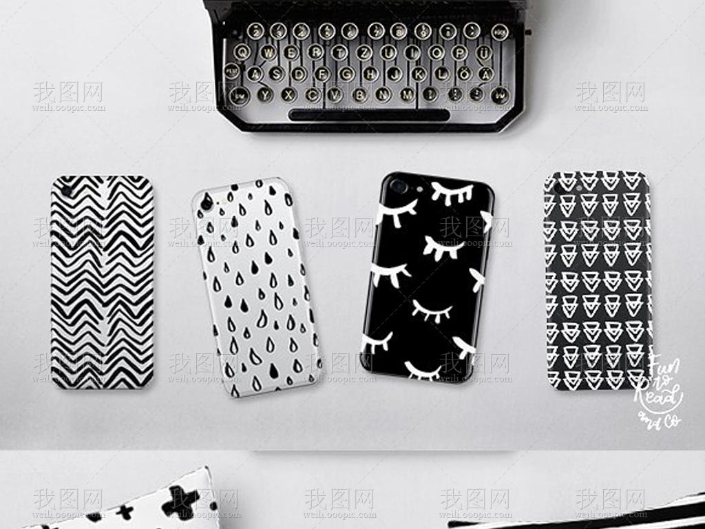 时尚手绘简约黑白潮流包装图案背景素材