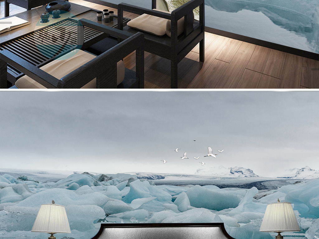 意境山水冰山新中式背景墙