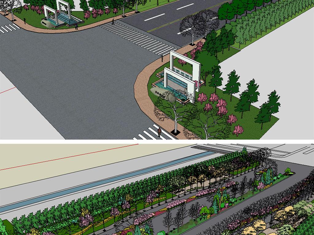 城市道路绿化设计su模型