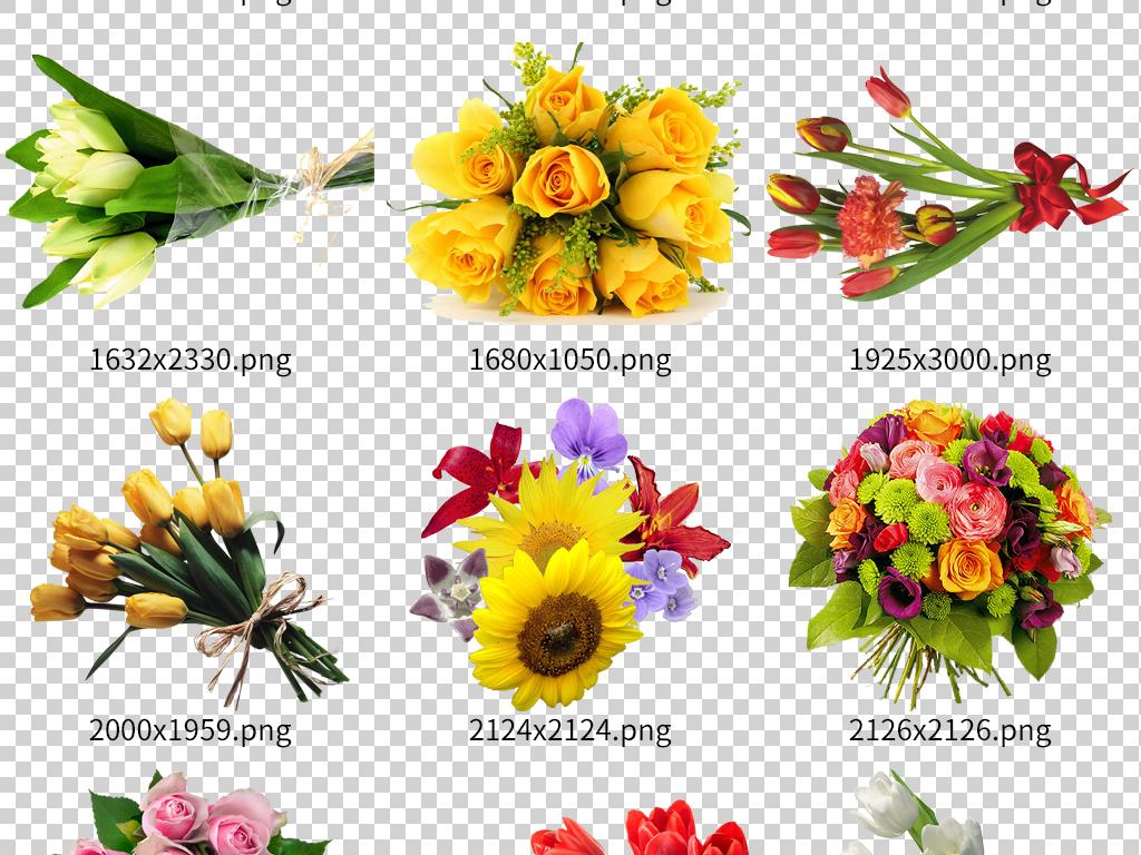 母亲节鲜花花束高清透明素材