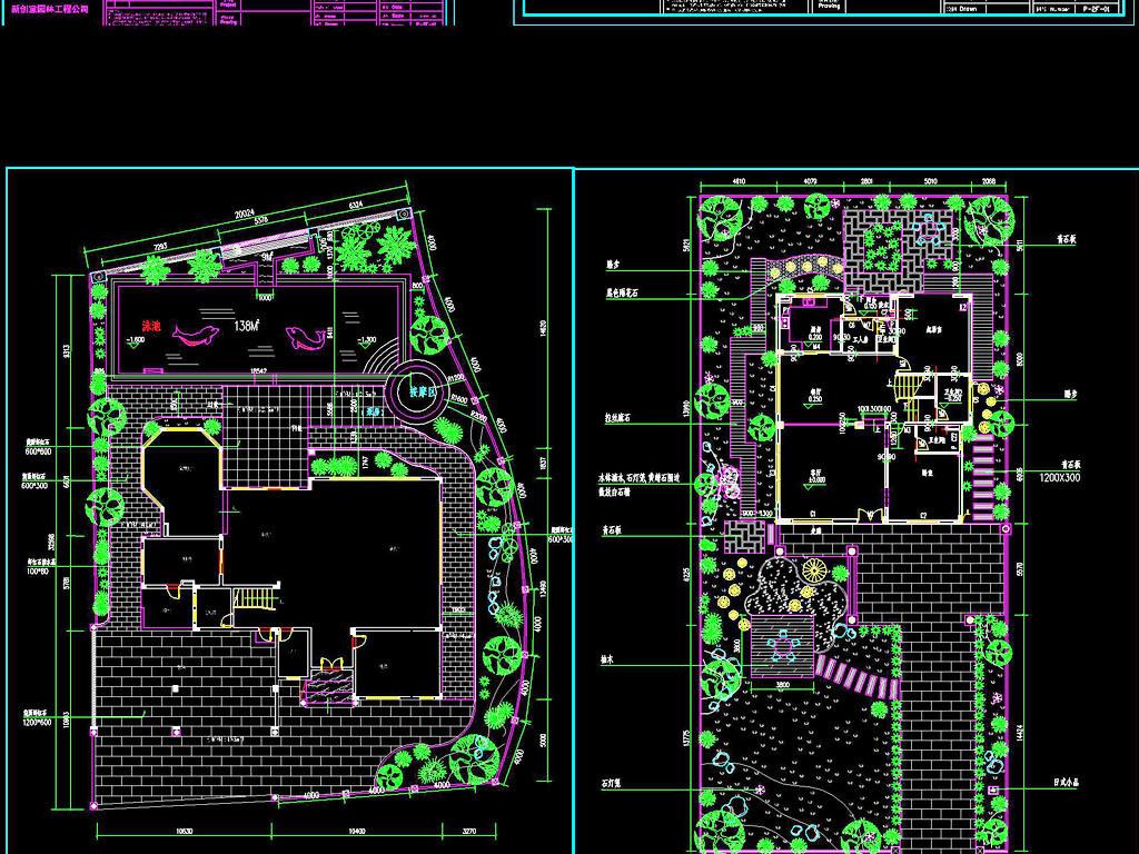 cad图库 室内设计cad图库 园林cad图纸  > 庭院设计cad施工图