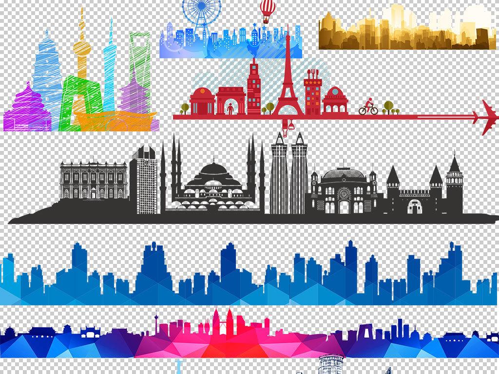 卡通建筑建筑设计手绘建筑欧美建筑大厦大楼上海楼宇