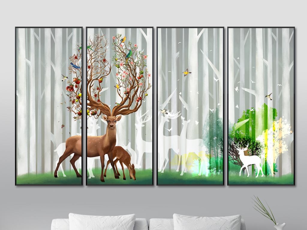 风水聚财梦幻森林鹿背景墙原创手绘高端极品