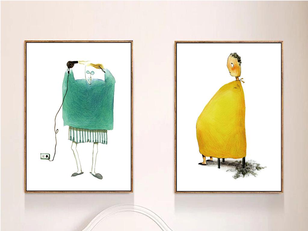 北欧简约水彩手绘抽象艺术组合装饰画图片设计素材_(.