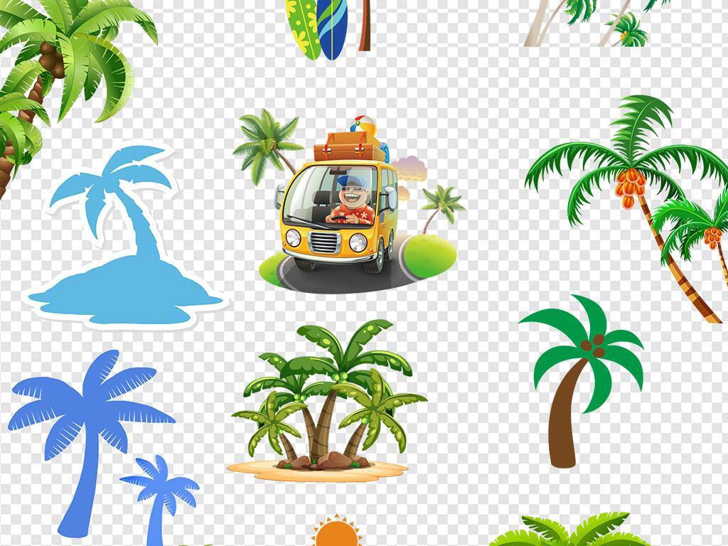 卡通椰子树木剪影图片素材