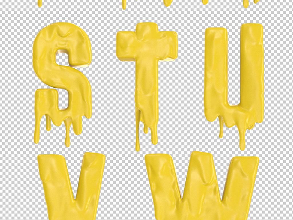 3D牛奶艺术字体26个英文字母素材集合