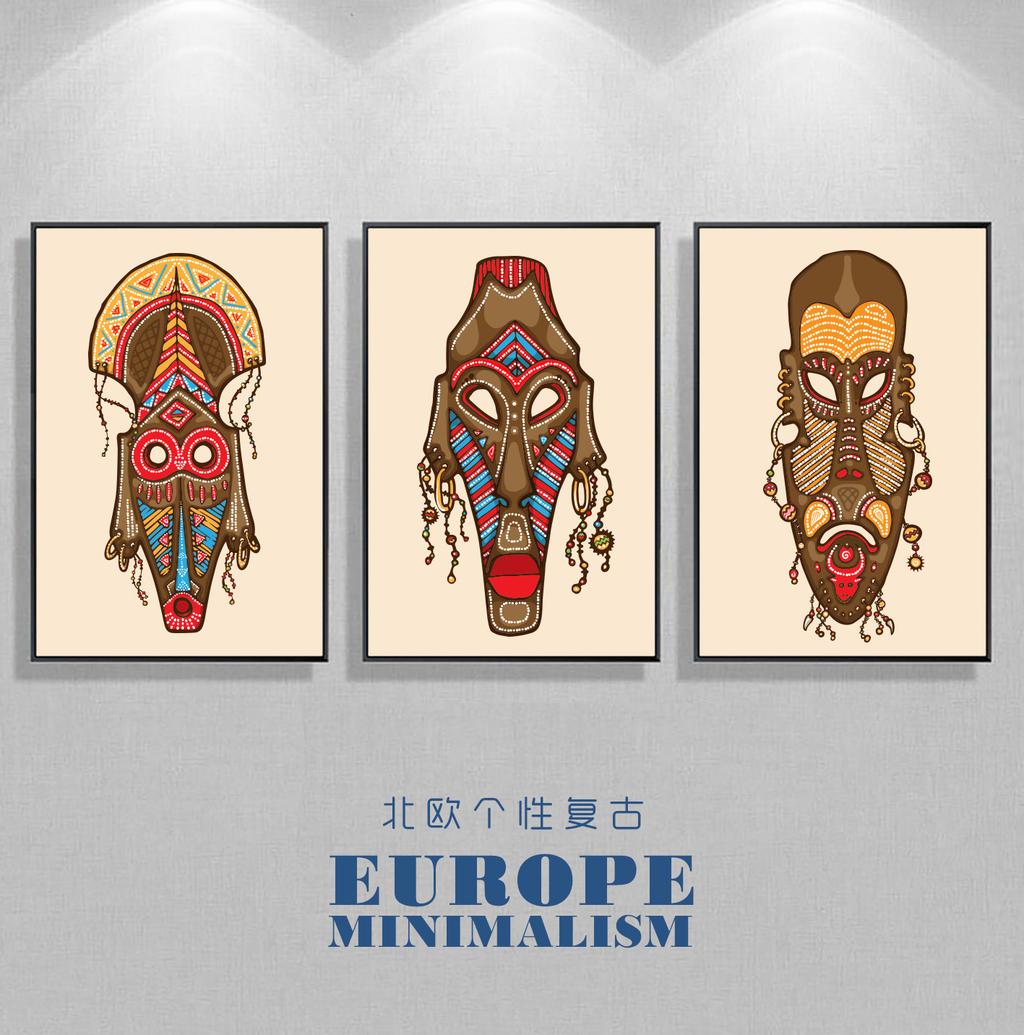 创意手绘印第安部落复古风格人脸面具装饰画