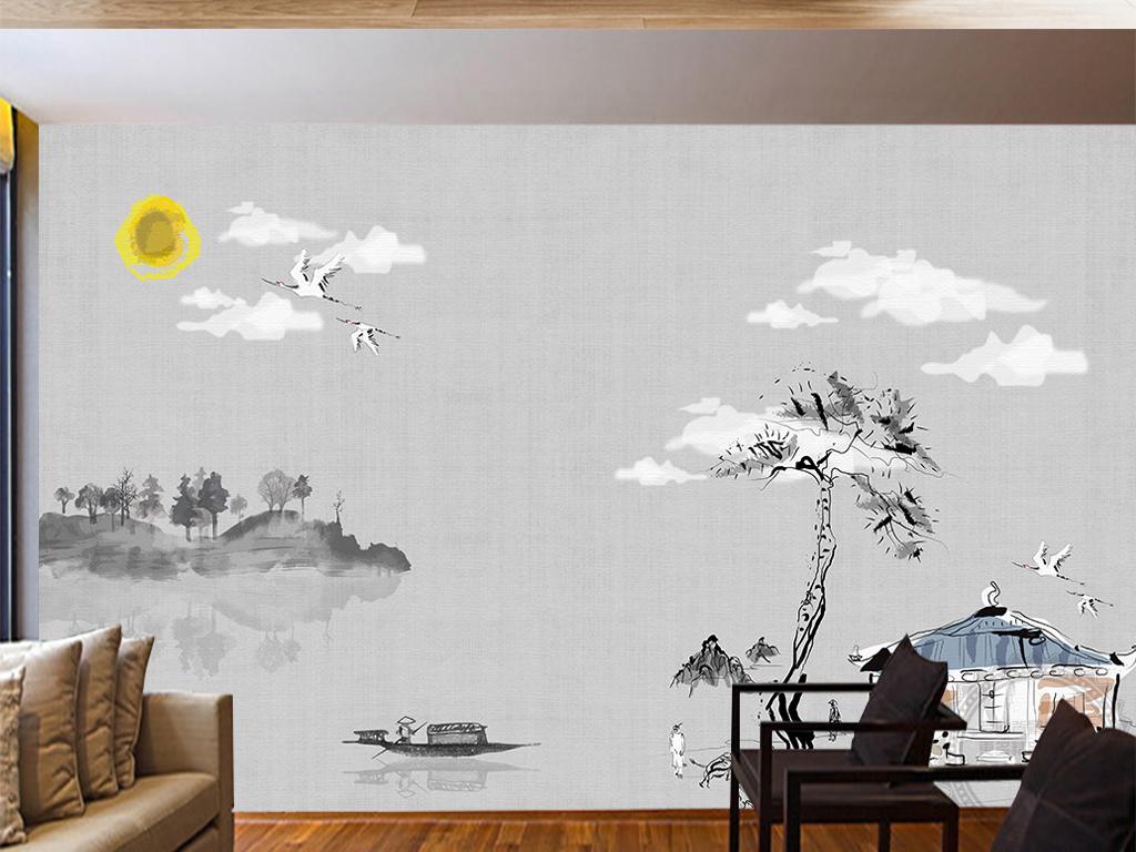 背景墙 电视背景墙 中式电视背景墙 > 新中式手绘禅意山水背景墙