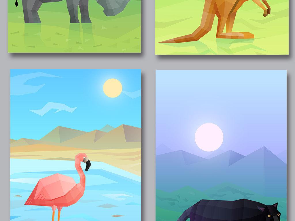 平面|广告设计 海报设计 海报背景图 > 立体几何动物信纸展板背景
