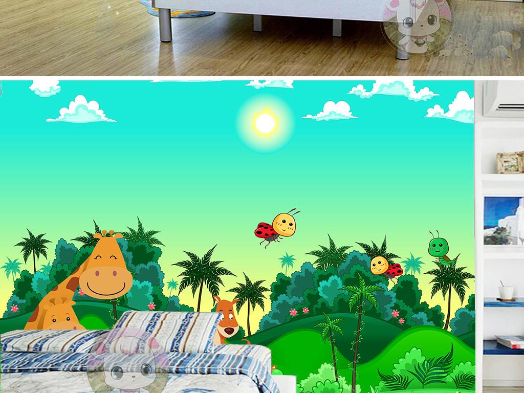 背景墙 装饰画 电视背景墙 电视背景墙 > 卡通动物世界儿童房电视背景