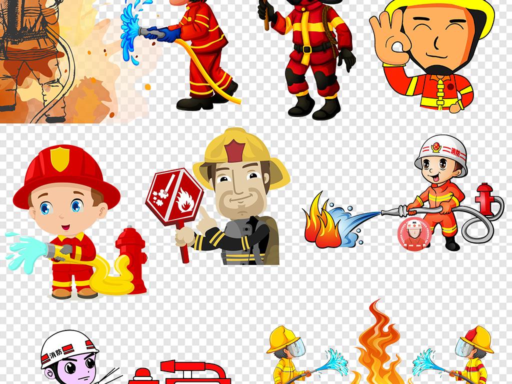 卡通救火消防员素材