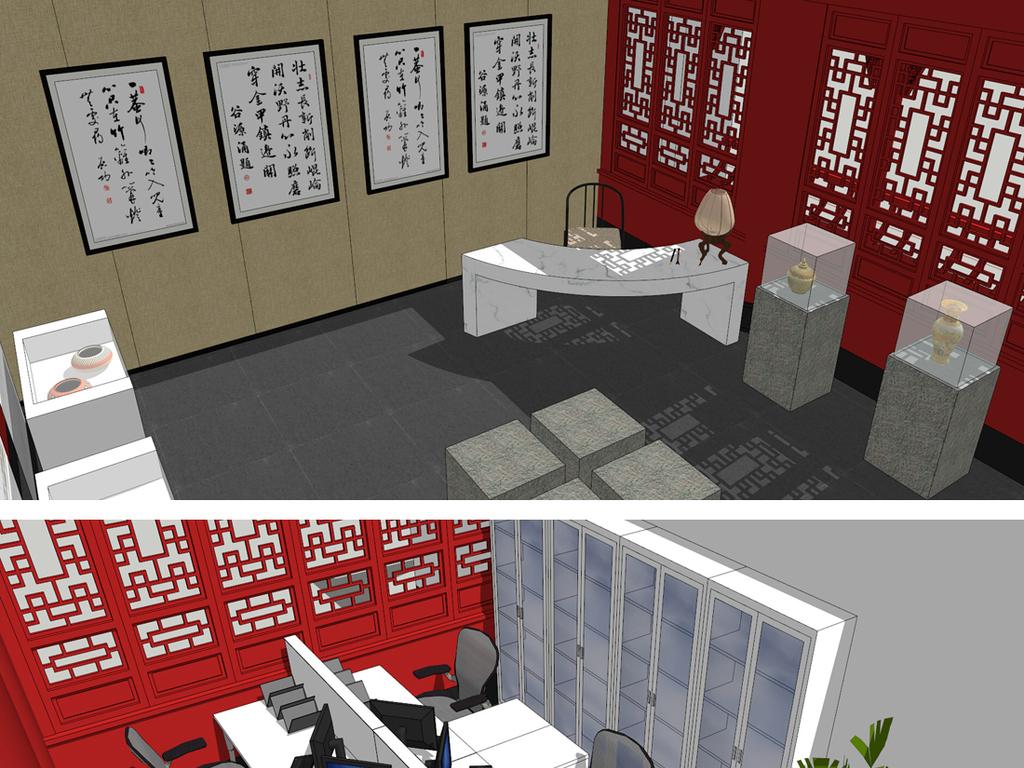 中式文化展厅展馆su模型图片
