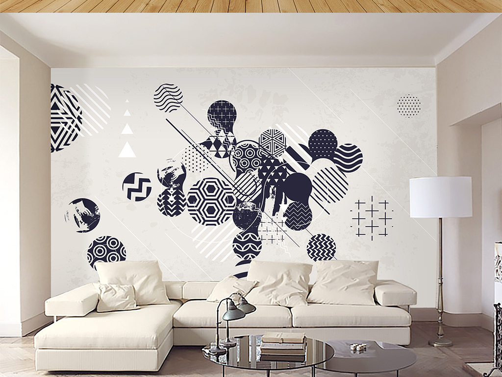 电视背景墙 现代简约电视背景墙 > 手绘北欧现代简约抽象几何背景墙