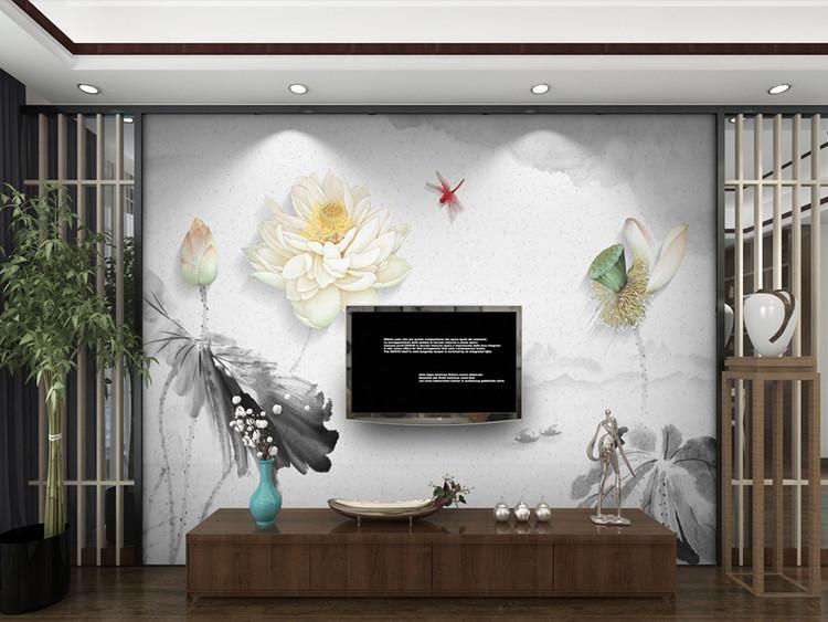 新中式立体浮雕水墨荷花电视背景墙装饰画