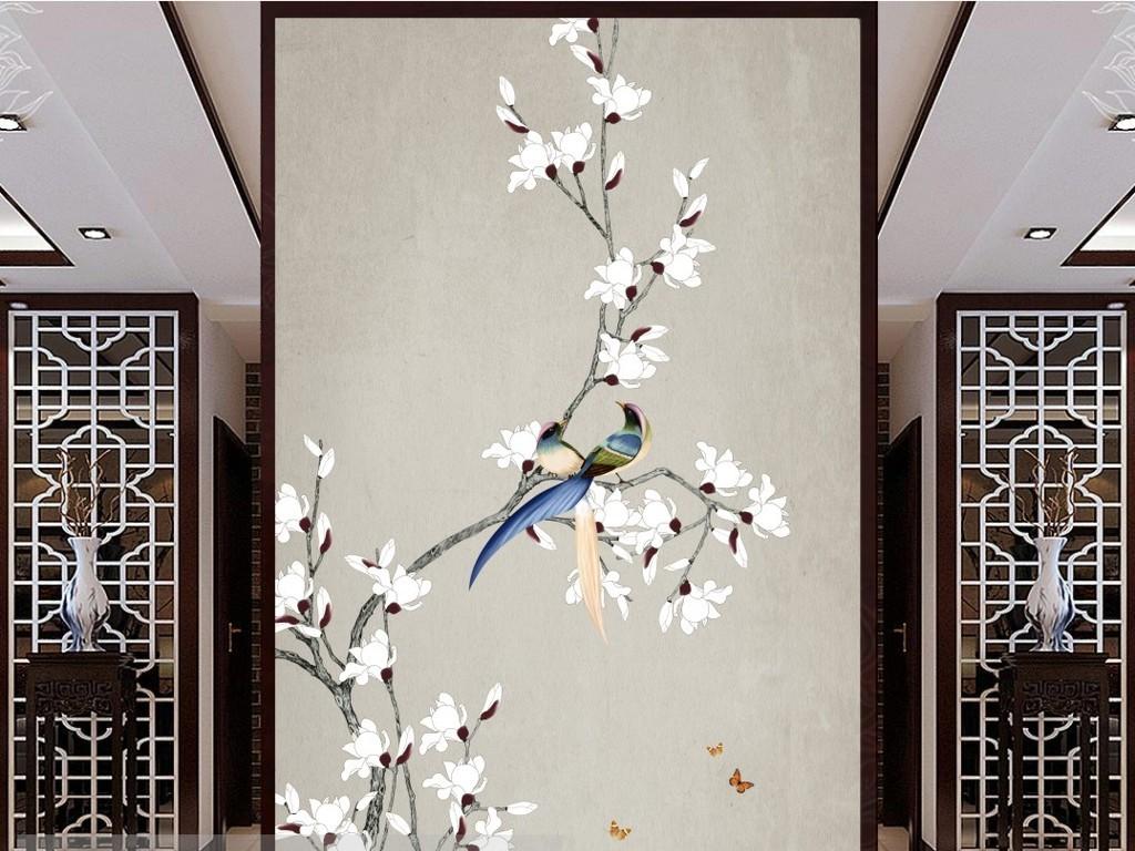 中式手绘玉兰花鸟工笔ps分层玄关背景装饰画