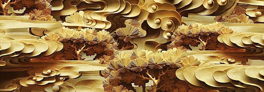 土豪金色祥云树林3d木雕浮雕新中式背景墙