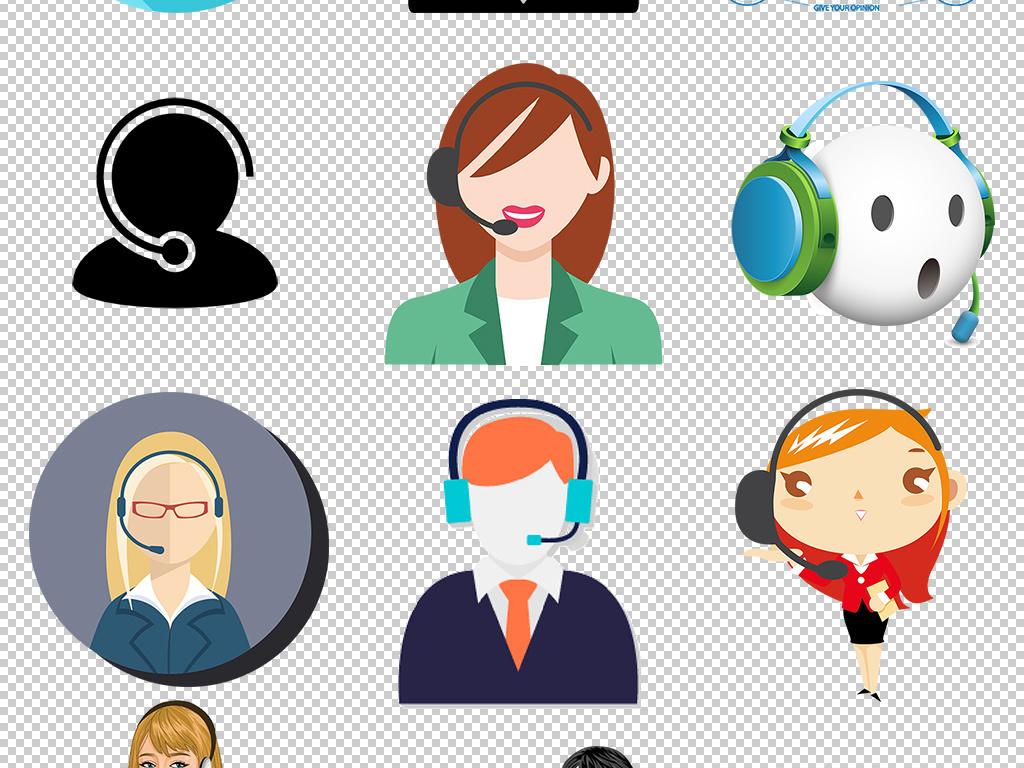 卡通在线客服热线免费咨询客服图标png