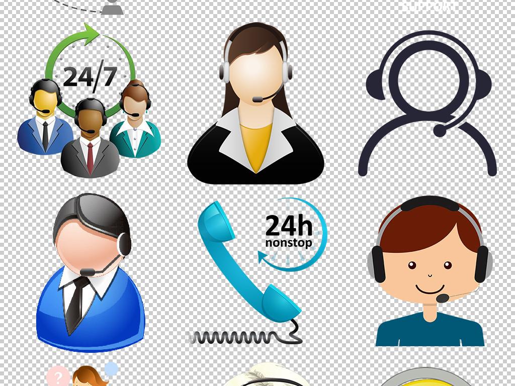 在线客服咨询热线联系电话卡通图标png