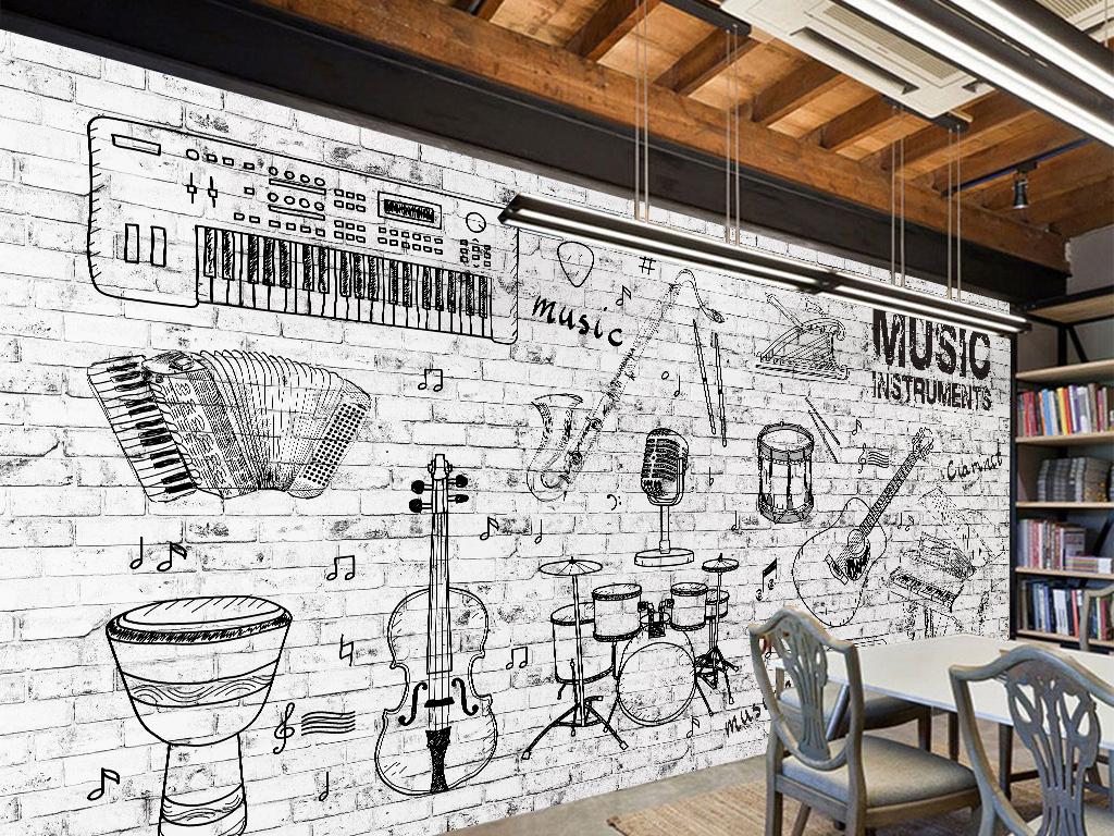 手绘乐器音乐背景墙壁画