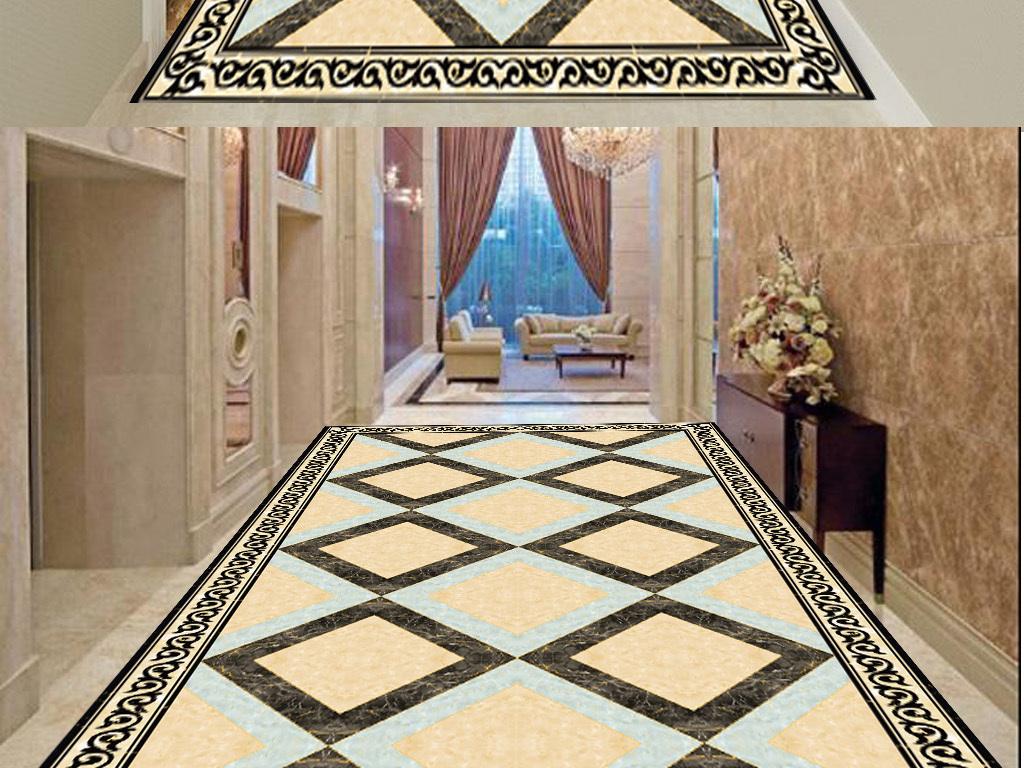 中式大理石地毯拼花图片
