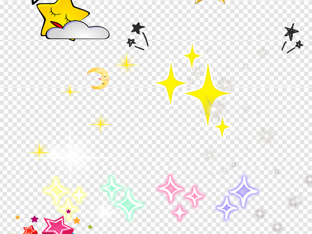 卡通手绘星星五角星素材