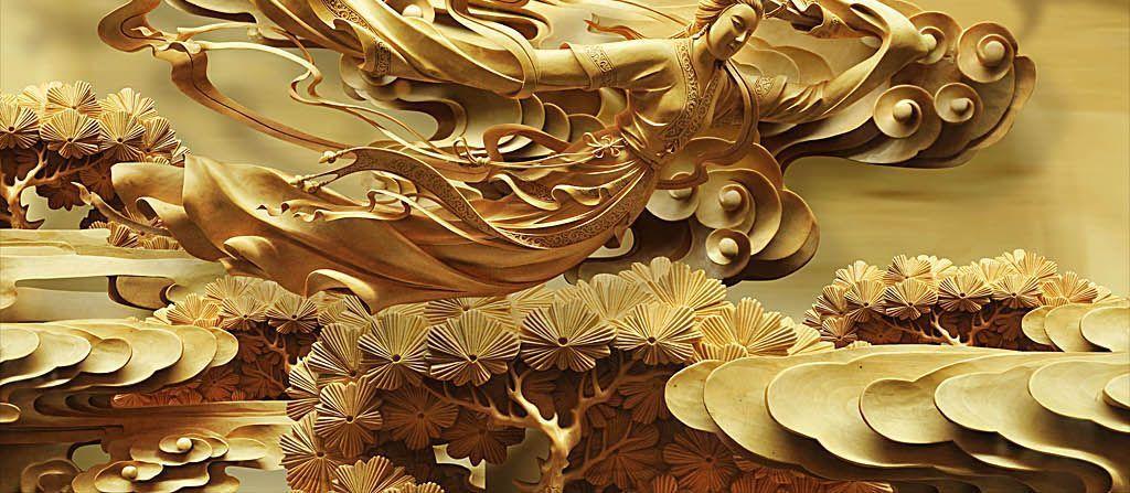 金色古典天女散花仙鹤祥云木雕浮雕背景墙