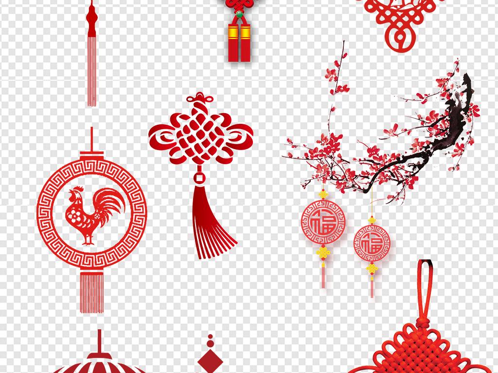 中国风素材中国结底纹福字中国结