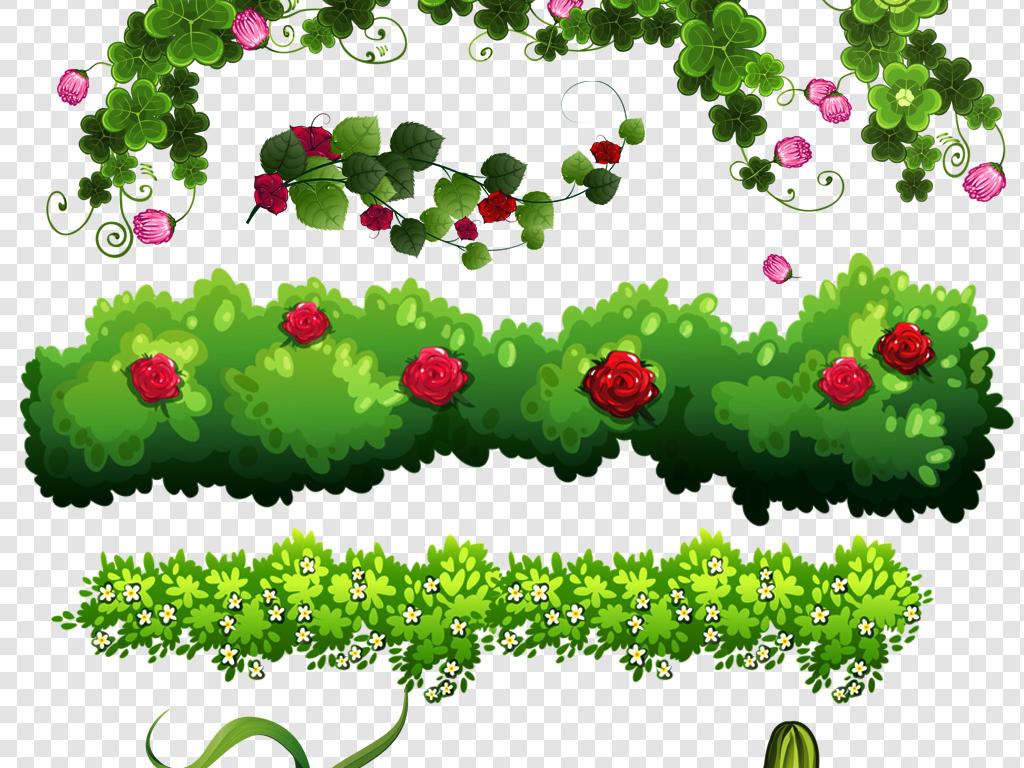 手绘植物png绿叶叶子png花卉png花边png草丛花丛pngpsd分层素材素材