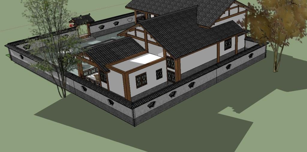 民宿中式农村别墅合院