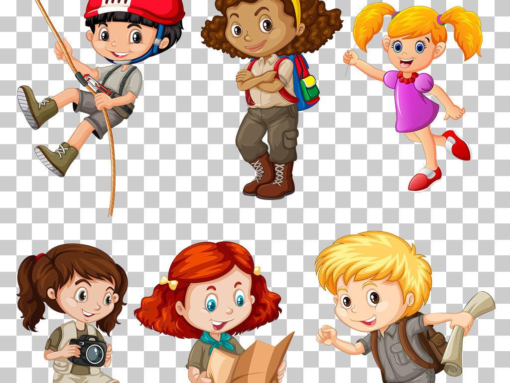 通用可爱卡通儿童小孩psd加png素材