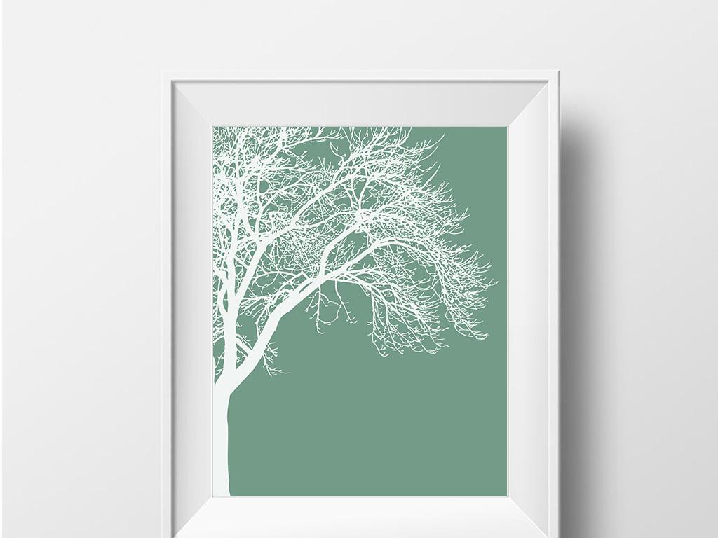 现代简约创意抽象树装饰画无框画图片