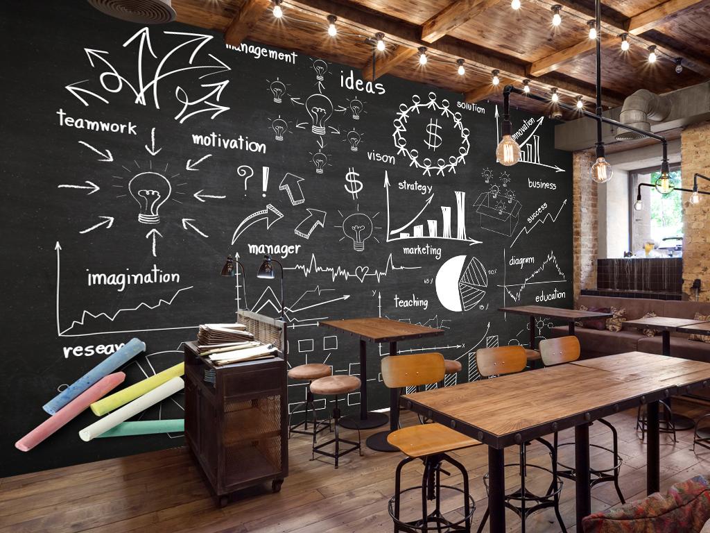 现代简约欧式手绘黑板画咖啡店西餐厅背景墙图片设计