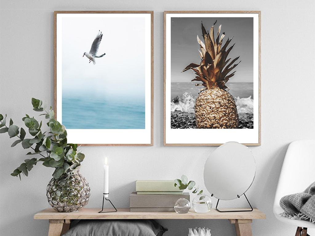 北欧人物装饰画大海菠萝无框画客厅三联挂画