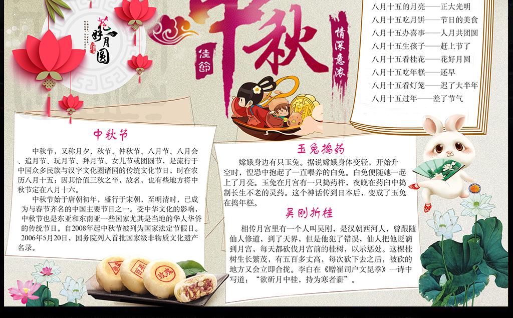 ps手抄报模板中国传统节日中秋节小报