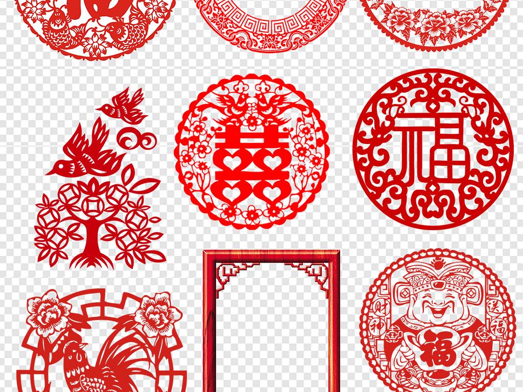 中国风元素中式窗花图案红色窗花剪纸
