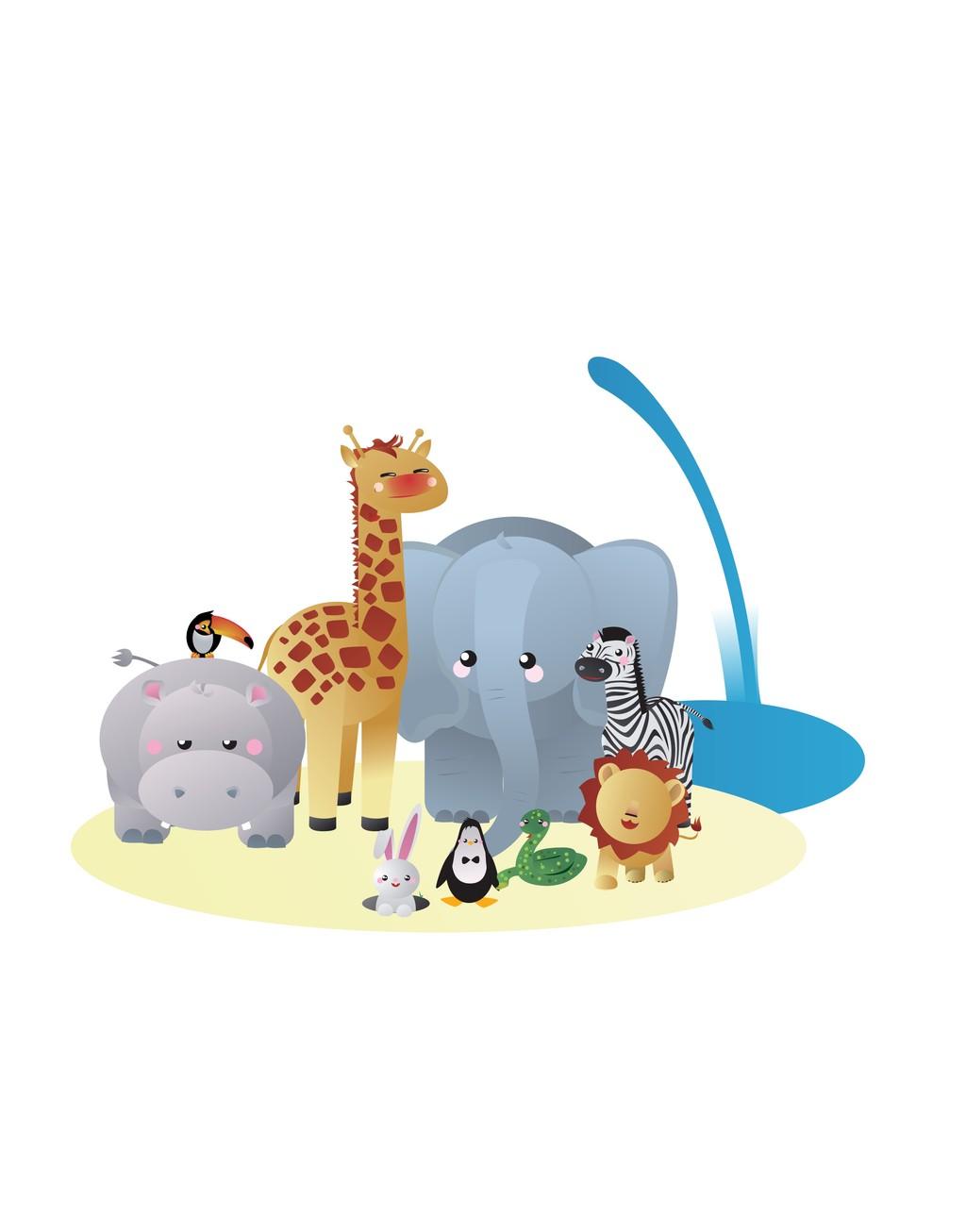 卡通动物长颈鹿大象