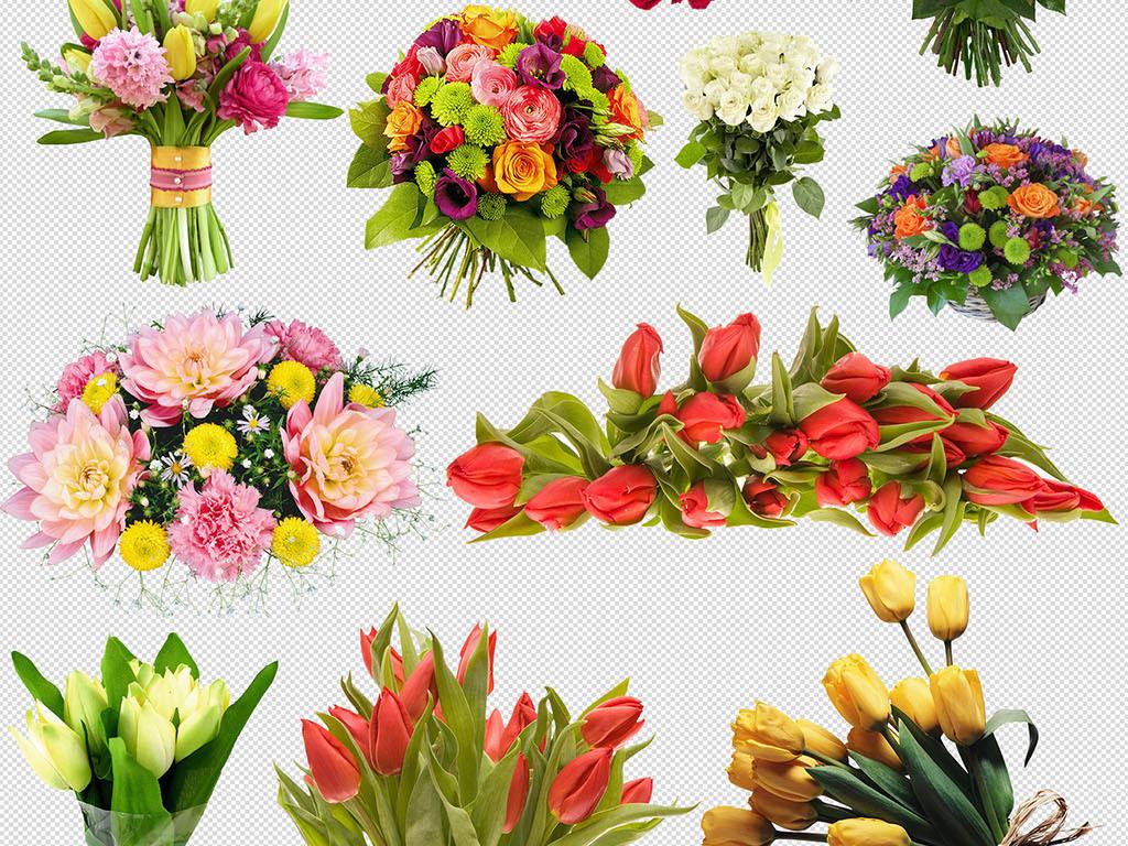 捧花花束玫瑰花手绘花篮素材