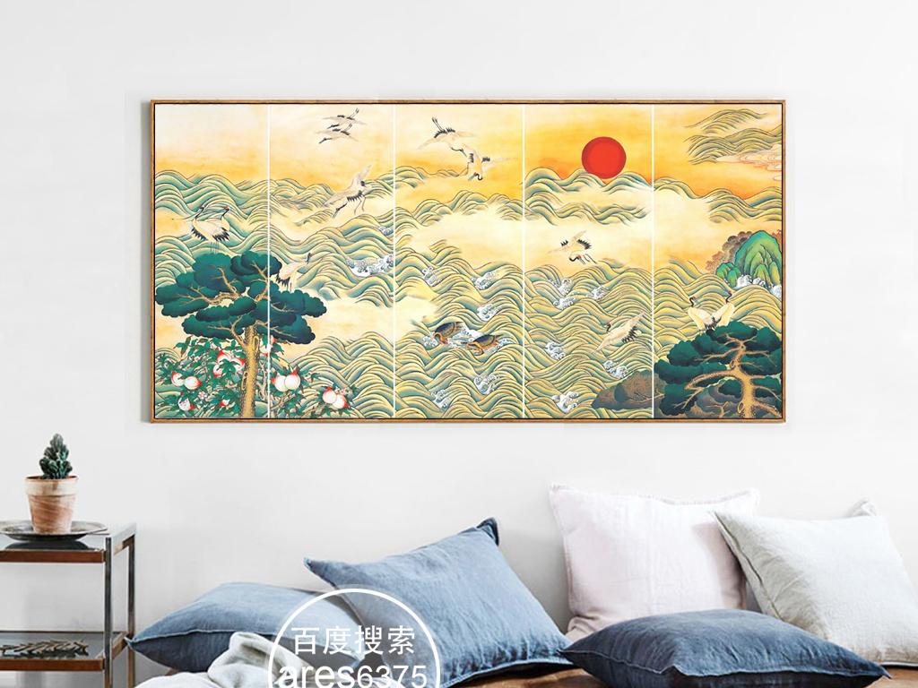 新中式手绘国画松鹤延年风水装饰画无框画