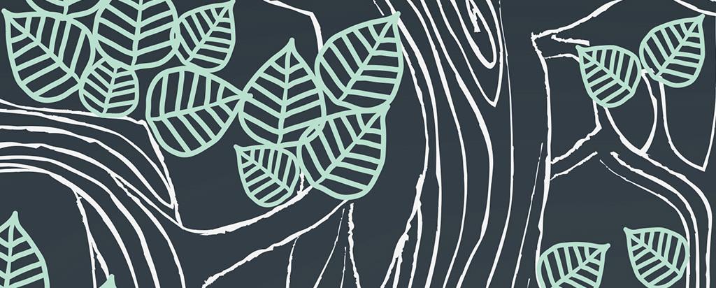 手绘动物大树背景墙装饰画