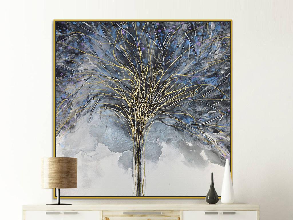 背景墙|装饰画 油画 抽象油画  > 手绘金色线条花瓣花卉绘画装饰画