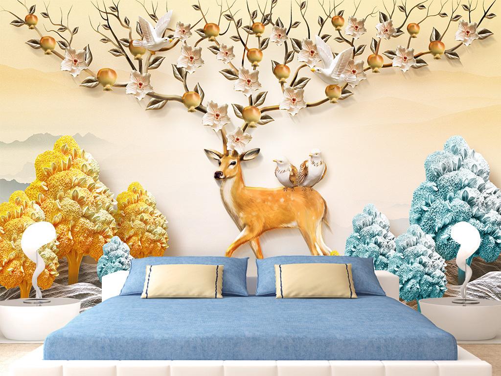 高清手绘麋鹿立体浮雕发财树北欧简约背景墙